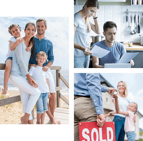 Family, a couple and sold sign